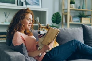 women in her Pet-Friendly Places to Live in Northern VA with her dog