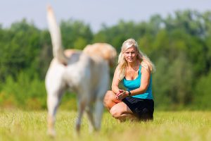 A woman and her dog on the meadow trying to  know why dog won't come inside when called