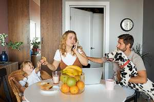 Man, woman, child and a dog in the kitchen. New family member in the home can trigger dog to mark in the house